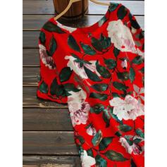 Print/Floral Short Sleeves Shift Knee Length Casual/Elegant T-shirt Dresses