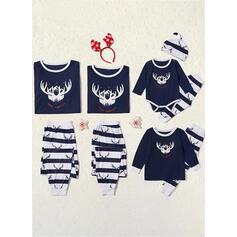 В полоску Распечатать Семейное соответствие Рождественская пижама