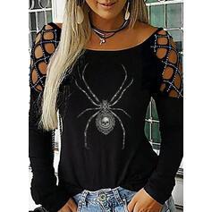 Zviřecí Potisk Odhalená Ramena Dlouhé rukávy Neformální Halloween Blůzy
