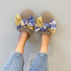 De mujer Terciopelo Tacón plano Pantuflas con Bowknot zapatos