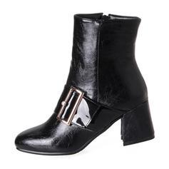 Mulheres PU Salto robusto Bombas Botas Bota no tornozelo com Fivela Zíper sapatos