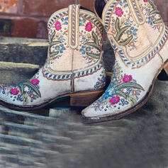 Vrouwen Microfiber Chunky Heel Enkel Laarzen Ronde neus met Klinknagel Bloem Geborduurd schoenen