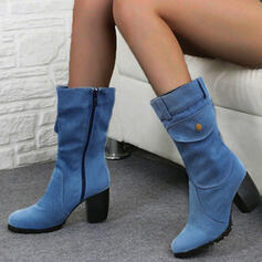 Mulheres PU Salto robusto Bombas Botas Botas na panturrilha com Zíper sapatos