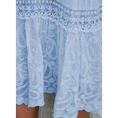 Encaje/Sólido Mangas 3/4 Tendencia Sobre la Rodilla Elegante Vestidos