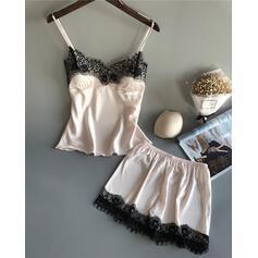 Corte bajo Sin mangas Color sólido Elegante Estilo clásico Conjuntos de pijamas