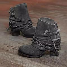 PU Chunky Heel Enkel Laarzen Ronde neus met Rits Gevlochten Riempje Effen kleur schoenen