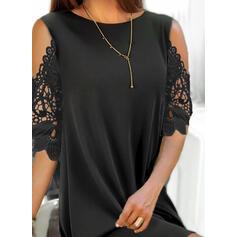 レース/固体 1/2袖 シフトドレス 膝上 リトルブラックドレス/エレガント ドレス