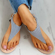 De mujer PU Tacón plano Sandalias Chancletas con Hebilla zapatos