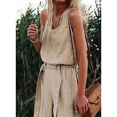 Solid Sleeveless Casual/Vacation Jumpsuits Dresses