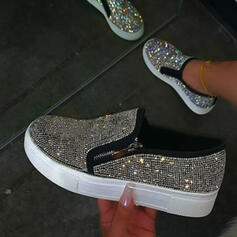 Women's PU Flat Heel Flats Low Top Round Toe Slip On With Rhinestone Rivet shoes