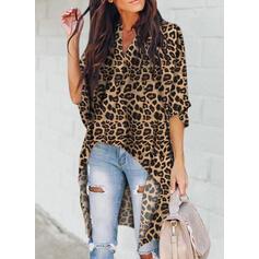 """leopard Výstřih do """"V"""" 1/2 rukávy Neformální Bluze"""