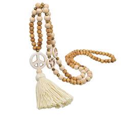 Stylový Boho Přírodní kámen Krystal Cotton String Dřevěné korálky S Střapce korále Náhrdelníky