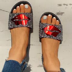 De mujer PVC Tacón plano Sandalias Encaje Pantuflas con Rhinestone zapatos