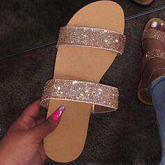 Women's PU Flat Heel Sandals Flats Peep Toe Slippers With Rhinestone shoes