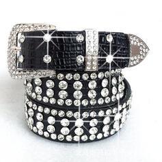 cuero con Diamantes de imitación Respirable Decoración de diamantes de imitación De mujer Cinturones