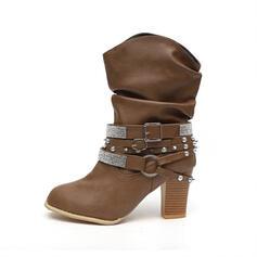 Dámské Koženka Široký podpatek Boty S Napodobenina drahokamu Nýt Přezka Solid Color obuv