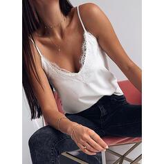 Sólido Encaje Tirantes de Espagueti Sin mangas Casual Sexy Camisetas sin mangas