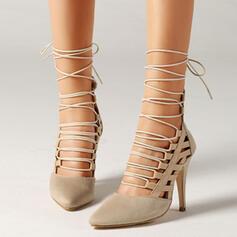 De mujer Ante Tacón stilettos Salón Cerrados con Cordones Agujereado zapatos