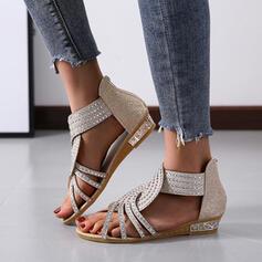Ανοιχτά σανδάλια toe Παντούφλες Με Κρύσταλλο Στερεό χρώμα παπούτσια