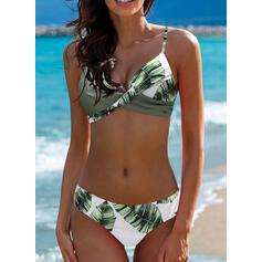 Estampado tropical Sin Mangas Sexy Talla extra Bikinis Trajes de baño