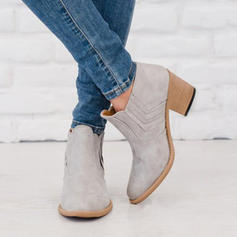 Women's PU Chunky Heel Pumps Closed Toe Boots With Others shoes
