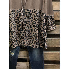 леопард V шеи Длинные рукова Повседневная Блузы