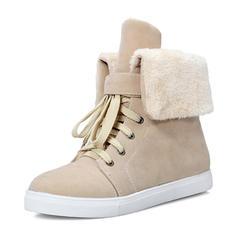 De mujer Ante Tacón plano Cerrados Botas Botas longitud media Botas de nieve Martin botas con Cordones zapatos