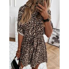 Leopard Dlouhé rukávy Áčkové Nad kolena Neformální Skaterové Šaty