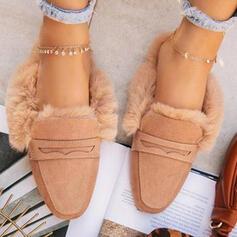 Femmes PU Talon plat Chaussures plates Slide & Mules avec Fausse Fourrure Couleur unie chaussures