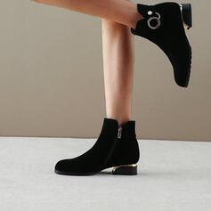 Dámské PU Nízký podpatek Široký podpatek Boty Kotníkové Boty S Elastický Náramek Solid Color obuv