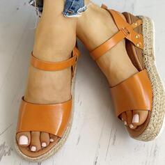 Γυναίκες PU Γωνία κλίσης Σανδάλια Σφήνες Ανοιχτά σανδάλια toe Με Πόρπη παπούτσια