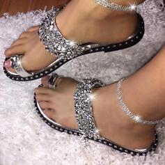 De mujer PVC Tacón plano Sandalias Pantuflas con Lentejuelas zapatos