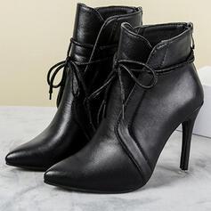 PU Jehlový podpatek Boty Kotníkové Boty High Top S Šněrovací Solid Color obuv