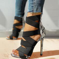Dámské PU Jehlový podpatek Sandály Lodičky S otevřenou špičkou Podpatky S Zviřecí Potisk Zip obuv