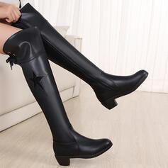 De mujer PU Tacón ancho Botas con Color sólido zapatos