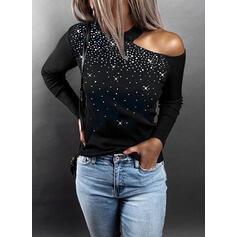 Solido Paillettes Una spalla Maniche lunghe Casuale Maglieria Camicie