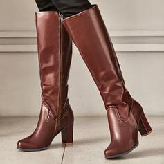 Pentru Femei PU Toc gros Cizme Cizme până la genunchi Tocuri Deget rotund cu Fermoar Culoare solida pantofi