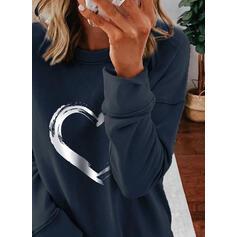 Wydrukować Serce Okrągły Dekolt Długie rękawy Bluza