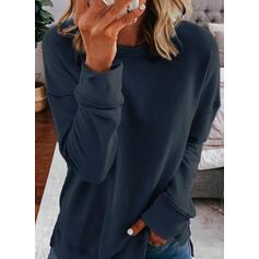 Jednolity Okrągły Dekolt Długie rękawy Bluza
