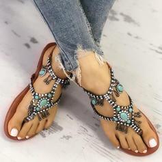 De mujer PU Tacón plano Sandalias con Rhinestone zapatos
