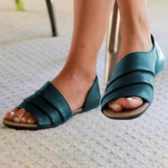 Dla kobiet Satyna Płaski Obcas Sandały Plaskie Otwarty Nosek Buta Z Pozostałe obuwie