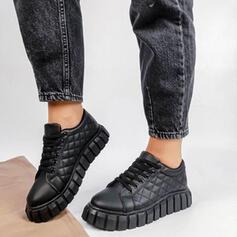 Dámské PU Placatý podpatek Boty Bez Podpatku Kolem špičky Tenisky S Šněrovací Solid Color obuv