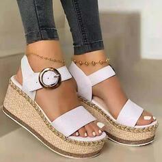 De mujer PU Tipo de tacón Sandalias Cuñas Encaje Tacones Encaje con Hebilla zapatos