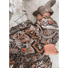Tisk Dlouhé rukávy Šaty Shift Tunika Neformální/Boho Midi Šaty