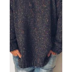 Estampado Decote em V Casual Suéteres