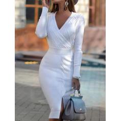 Solid Kabelsticka Klumpig stickning V-ringning Casual Lång Tät Tröja klänning
