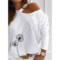 Распечатать Одуванчик Одно плечо Длинные рукова Повседневная Блузы