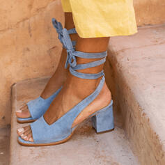 De mujer Ante Tacón ancho Sandalias Salón Encaje con Cordones zapatos