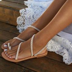 Pentru Femei PU Fară Toc Sandale Balerini Puţin decupat în faţă cu Imitaţie de Perlă pantofi