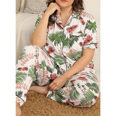 Cuello Redondo Manga Corta Floral Talla extra Atractivo Conjuntos de pijamas